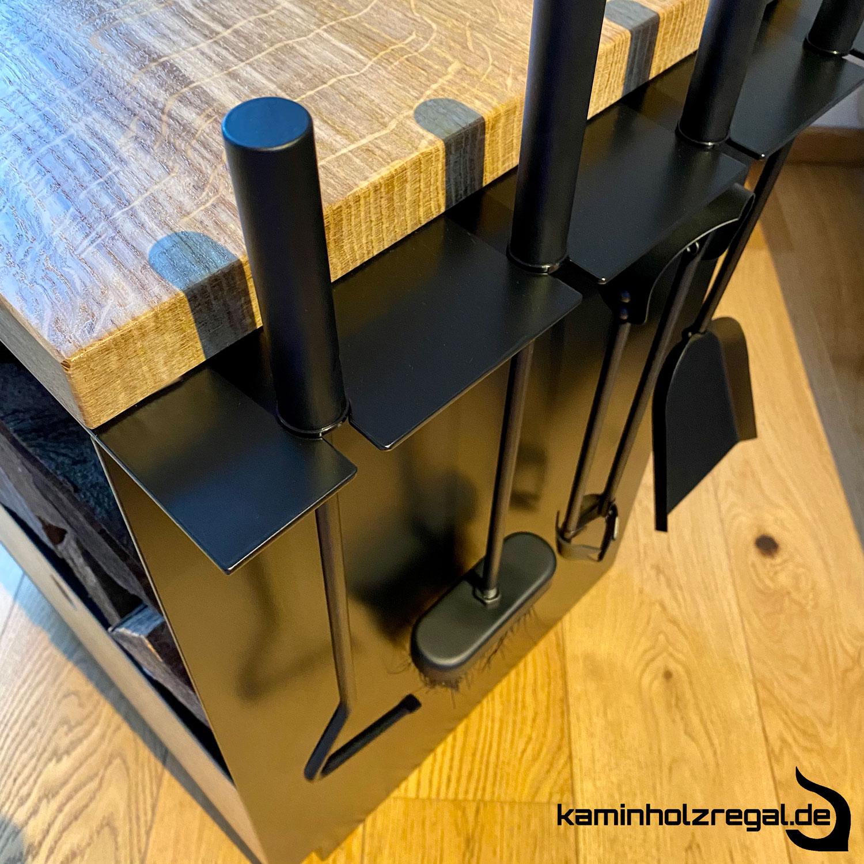 Kaminholzregal mit Schublade und Halter für Kaminbesteck_2