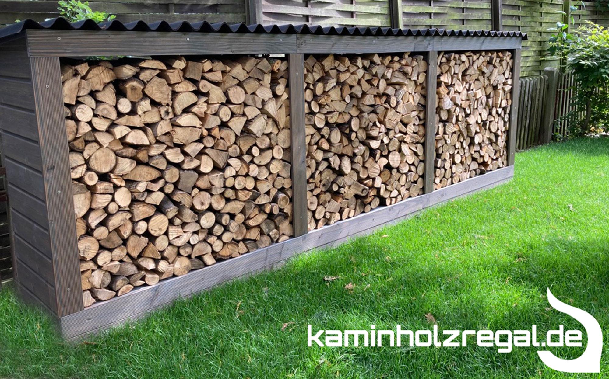 Kaminholzregal Garten mit Rückwand