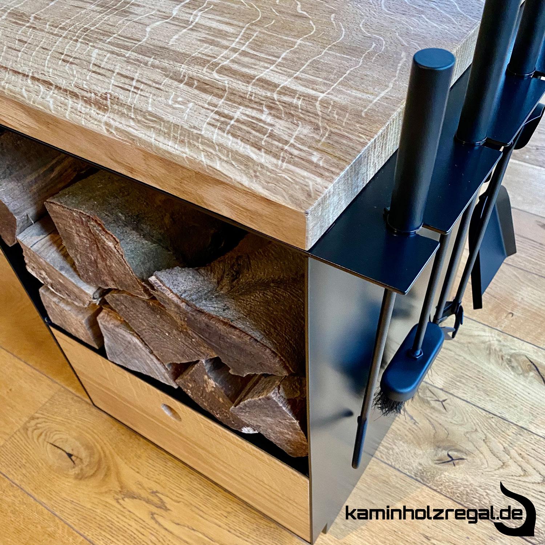 Kaminholzregal mit Schublade und Halter für Kaminbesteck_5
