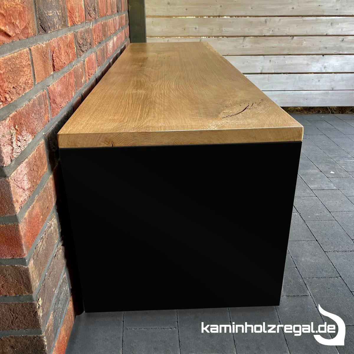 Bank für Kaminholz 1,80 m x 0,50 m mit Eichenplatte als Sitzfläche für Innen - pulverbeschichtet - matt schwarz