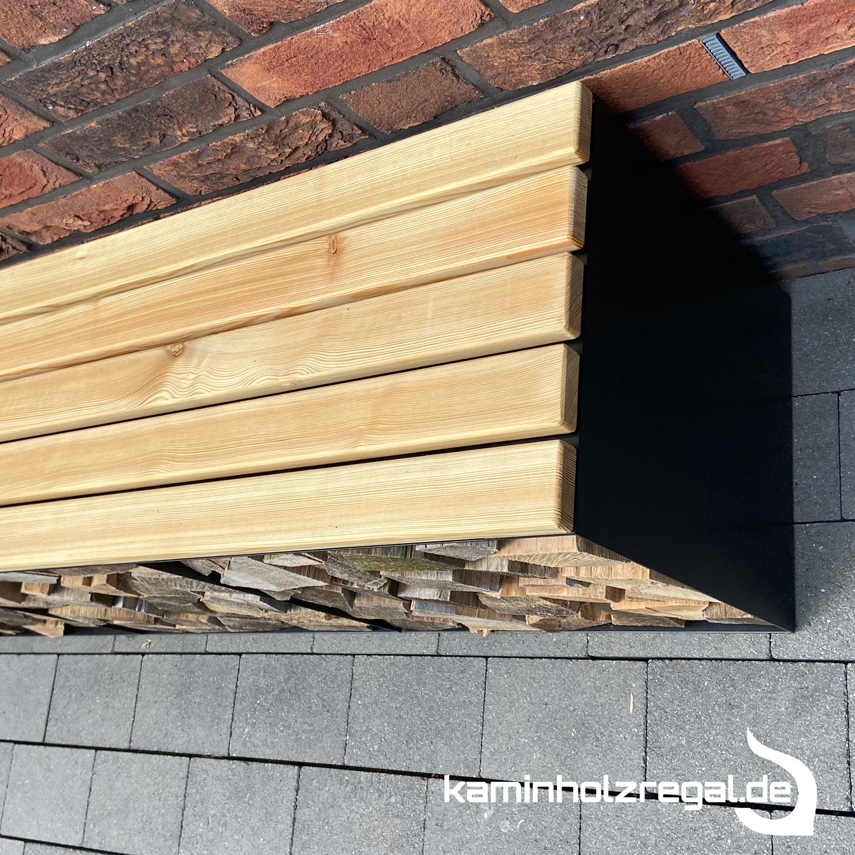 Kaminholzregal Bank aus Stahl 150 cm schwarz_1