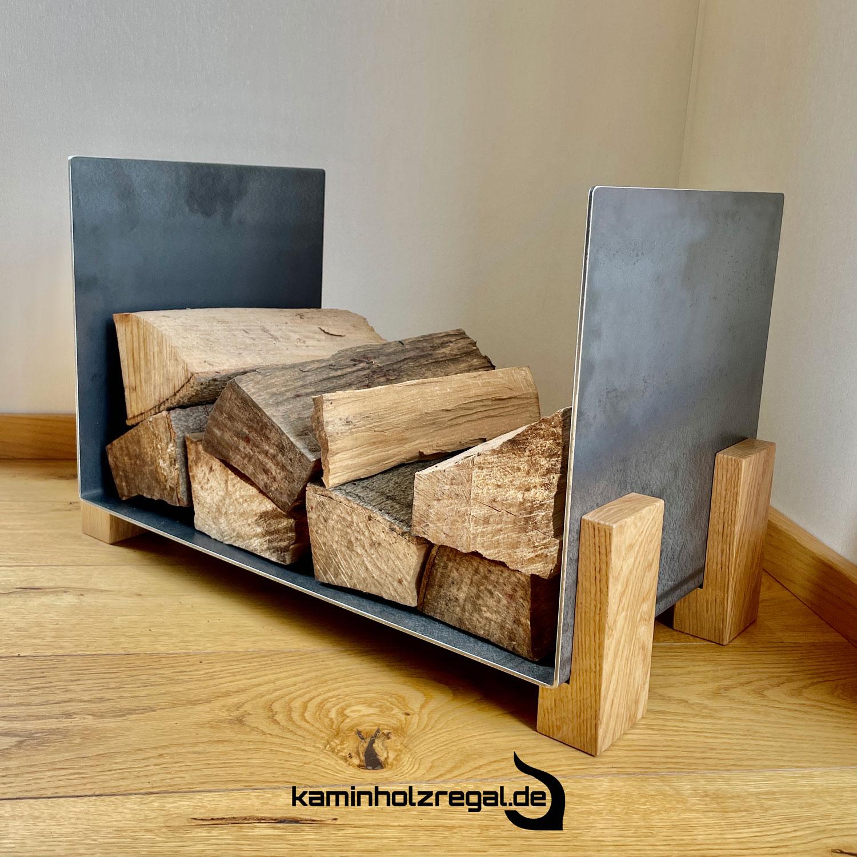 Kaminholzregal U-Form Eichenholz Füße  3