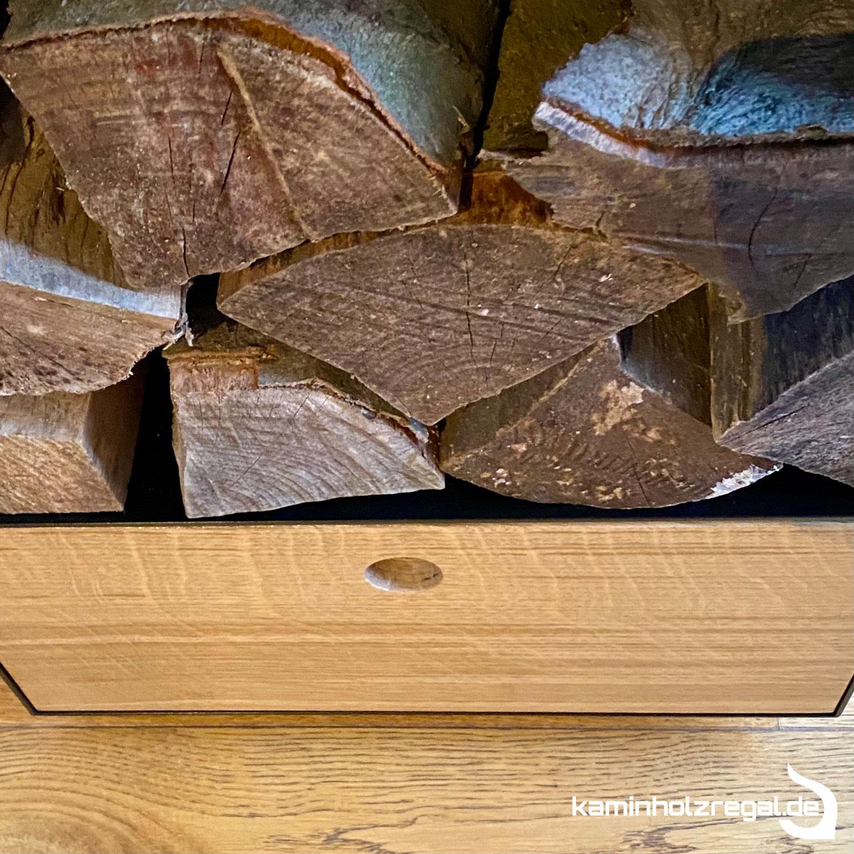 Kaminholzregal mit Schublade und Halter für Kaminbesteck_8