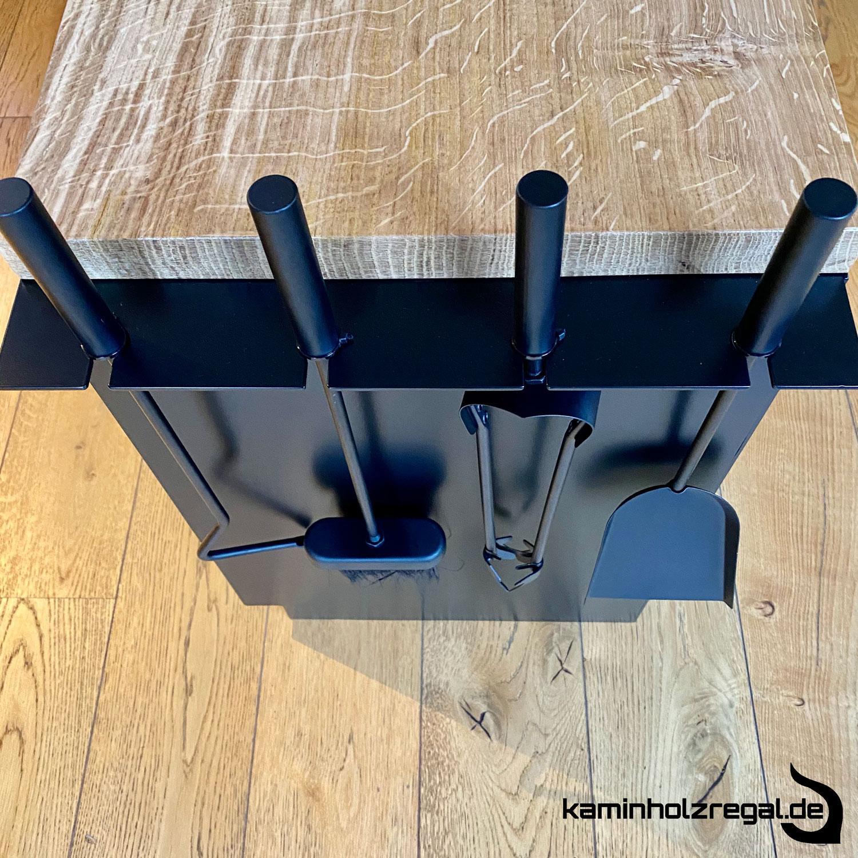 Kaminholzregal mit Schublade und Halter für Kaminbesteck_4
