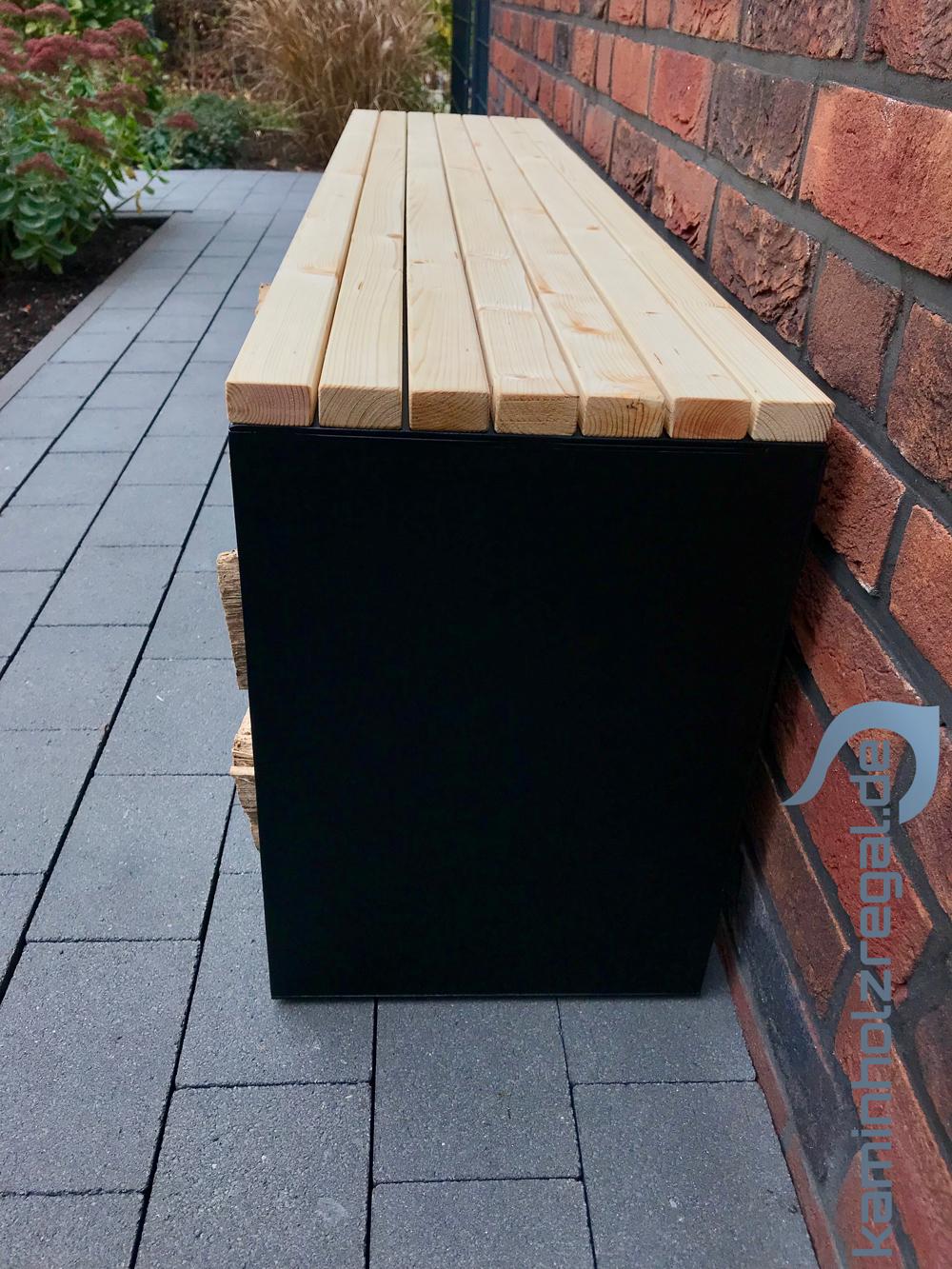 Kaminholzregal mit Sitzfläche als Bank für Innen und Außen - pulverbeschichtet - matt schwarz