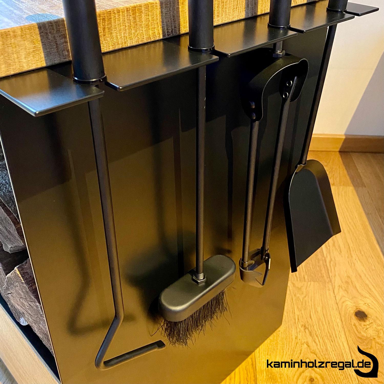 Kaminholzregal mit Schublade und Halter für Kaminbesteck_3