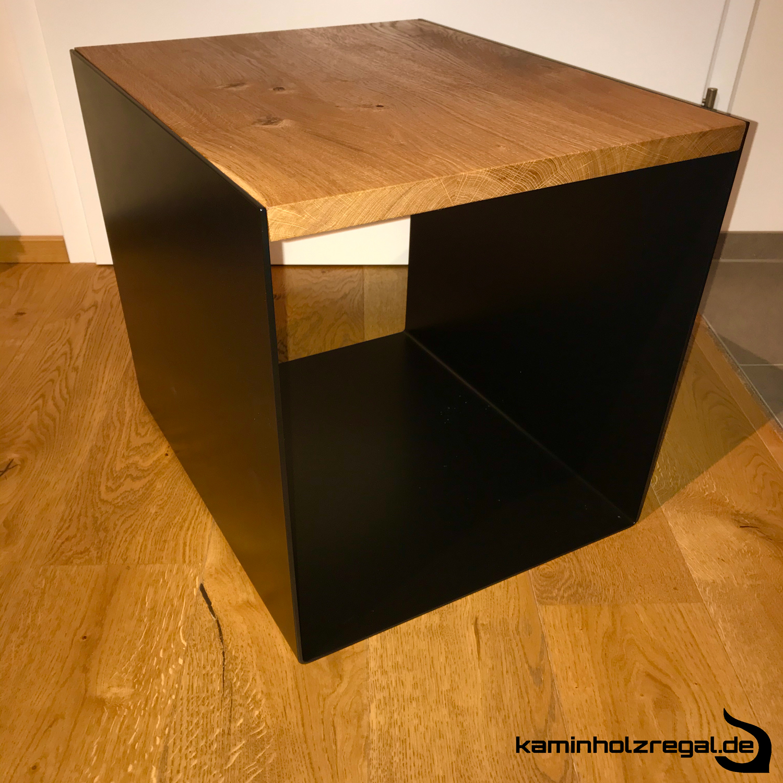 Kaminholz-Sitzblock mit Eichenbrett - Pulverbeschichtet - 4mm Stahlblech - schwarz matt