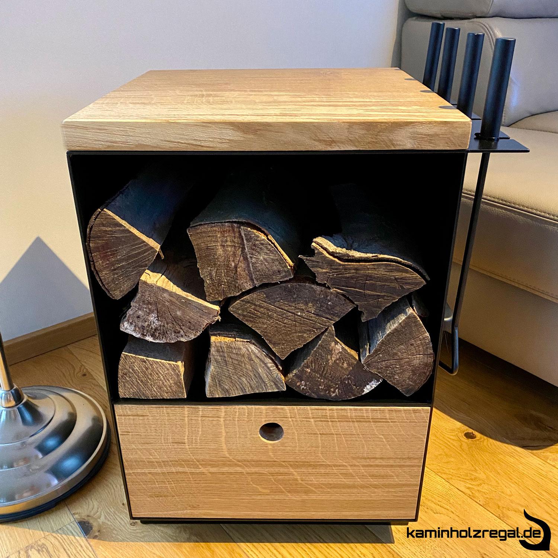 Kaminholzregal mit Schublade und Halter für Kaminbesteck_6