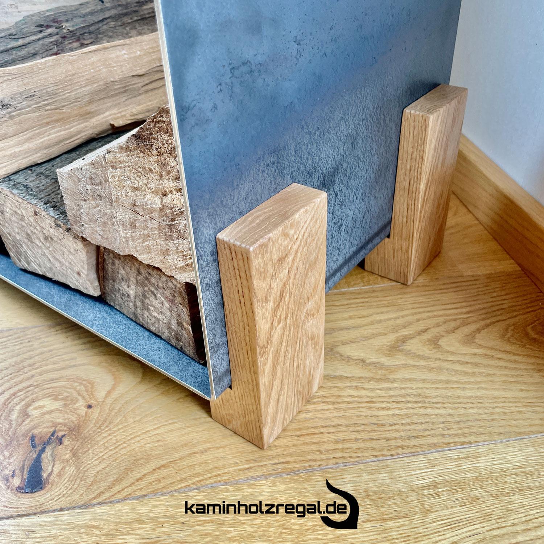 Kaminholzregal U-Form Eichenholz Füße  5