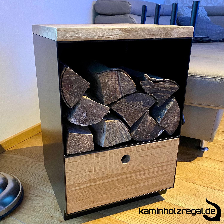 Kaminholzregal mit Schublade und Halter für Kaminbesteck_7